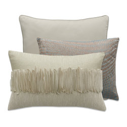 None - Modern Living Sterling Poppy Decorative Pillow (Set of 3) - Find simply stated luxury with these beautiful Sterling Poppy coordinated decorative pillows. Set includes one square pillow, one organza applique ruffled pillow, and one textured embroidered pillow.