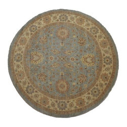 Oushak Oriental Rug, 100% Wool 9X9 Round Vegetable Dyes Hand Knotted Rug SH8015 - Hand Knotted Oushak & Peshawar Rugs are highly demanded by interior designers.  They are known for their soft & subtle appearance.  They are composed of 100% hand spun wool as well as natural & vegetable dyes. The whole color concept of these rugs is earth tones.