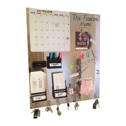 "Modern Magnetic Message Board - This is a modern 34"" x 28"" reflective  stainless steel dry erase message center with all magnetic accessories included. You need nothing else to create this masterpiece but your imagination.  Not only can you  move everything around to design your own  unique command center, but this piece with it's chrome like finish looks like a work of art!  Designed by artist Joan Studwell.  Custom handmade to your size. Please contact me for pricing."