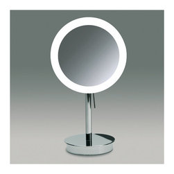 "Windisch by Nameeks - 14.2"" Free Standing 3x Magnifying LED Mirror with Switch - Begin with this beautiful magnified mirror. Free-standing and available in chrome or gold, this brass makeup magnifying mirror will compliment a contemporary & modern personal bathroom. Features: -One face magnifying mirror. -3x magnification. -Available in chrome and gold finishes. -Brass and glass construction. -LED light. -Free standing. -Overall dimensions: 14.2"" H x 7.9"" W x 7.9"" D."