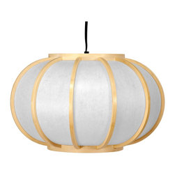 Oriental Furniture - Harajuku Hanging Lantern - Natural - Lightweight Japanese style wood and paper hanging lantern. The thin paper shade emits a warm, soft light while the open center makes for quick and easy light bulb changes. Wired for a standard size American light bulb. Does not need to be professionally installed but does require a hook or pole for hanging. A gentle but distinctly Oriental lighting solution that fits a range of interior decor, from traditional Asian to casual modern or minimalist.