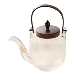Japanese Glassware Tea Pot Chirori Hexagon, Dark - Our finest glassware tea pot made by the Japanese craftsmen at Hirota in Japan.  The glass is heat-resistant, so it's perfect for making tea but could also be used to serve cold drinks, traditionally in Japan they use it for sake.