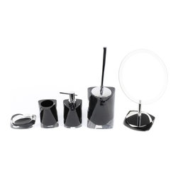 Twist Bathroom Accessory Set By Gedy - 5-piece accessory set made of thermoplastic resin jn a shiny black finish. Set includes soap dish, toothbrush holder, soap dispenser, toilet brush and a magnifying mirror. Magnifying mirror features a 2x magnification.