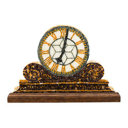 """Mantel Clock Mosaic Art - I use the ancient medium of mosaics to create fine art contemporary compositions. This Mantel Clock, which comes with a mahogany base, is made of hand cut tiny micro mosaics in stained glass. All pieces are designed and fabricated by me in my studio. Although Mantel Clock looks 3 dimensional, it isn't. This piece is only 1/8"""" in depth. A perfect piece of art for desk, shelf or windowsill."""