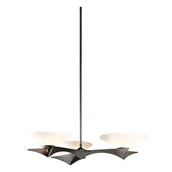 "Hubbardton Forge - Contemporary Hubbardton Forge Moreau Dark Smoke 3-Light Pendant - Impressive modern style inspired by classic elements is yours with this dark smoke finish 3-light pendant. A shapely wide dimensional frame displays three wide opal glass bowls that majestically soften the illumination. Attached to a round canopy by an adjustable-height stem and adaptable to sloped ceilings one way up to 45 degrees. Indoor damp rating is perfect for humid environments. A beautiful home lighting choice from Hubbardton Forge. Updated Mid-Century style 3-light pendant. Metal and glass construction. Dark smoke finish. Opal glass. Sloped ceiling adaptable to 45 degrees. Indoor damp rating. Three max 40 watt bulbs (not included). Manufactured in Vermont by Hubbardton Forge. Round canopy is 6"" wide. 51 3/4"" wide. 27"" deep. 4 3/4"" high. Glass bowls are 9 1/2"" wide and 2 1/2"" high. Adjustable hang height from 36 1/2"" to 51 3/4"".  Updated Mid-Century style 3-light pendant.  Metal and glass construction.  Dark smoke finish.  Opal glass.  Sloped ceiling adaptable to 45 degrees.  Indoor damp rating.  Made in USA.  A stylish large chandelier.  Three max 40 watt bulbs (not included).  Manufactured in Vermont by Hubbardton Forge.  Round canopy is 6"" wide.  51 3/4"" wide.  27"" deep.  4 3/4"" high.  Glass bowls are 9 1/2"" wide and 2 1/2"" high.  Adjustable hang height from 36 1/2"" to 51 3/4""."