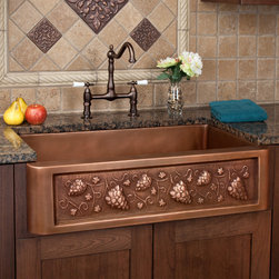 """30"""" Tuscan Series Copper Farmhouse Sink - The Tuscan Copper Farmhouse Sink is constructed of durable, glowing copper and features a Mediterranean-inspired grapevine motif."""