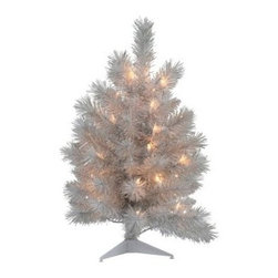 Silver White Pine Dura-Lit Table Top Christmas Tree - Give your desk, shelf, or display a festive look with the Silver White Pine Dura-Lit Table Top Christmas Tree. This handsome tree features a silver and white color tone and is made for smaller spaces. Its bright mini-lights brighten up any setting.2-ft.Tree Additional InformationShape: slim Base width: 14 in.Tip count: 71Bulb count: 353-ft.Tree Additional InformationShape: slim Base width: 19 in.Tip count: 132Bulb count: 704-ft.Tree Additional InformationShape: slim Base width: 27 in.Tip count: 242Bulb count: 100Don't Forget to Fluff!Simply start at the top and work in a spiral motion down the tree. For best results, you'll want to start from the inside and work out, making sure to touch every branch, positioning them up and down in a variety of ways, checking for any open spaces as you go.As you work your way down, the spiral motion will ensure that you won't have any gaps. And by touching every branch you'll create the desired full, natural look.About VickermanThis product is proudly made by Vickerman, a leader in high quality holiday decor. Founded in 1940, the Vickerman Company has established itself as an innovative company dedicated to exceeding the expectations of their customers. With a wide variety of remarkably realistic looking foliage, greenery and beautiful trees, Vickerman is a name you can trust for helping you create beloved holiday memories year after year.