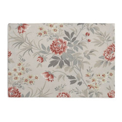 Gray & Pink Lotus Flower Custom Placemat Set - Is your table looking sad and lonely? Give it a boost with at set of Simple Placemats. Customizable in hundreds of fabrics, you're sure to find the perfect set for daily dining or that fancy shindig. We love it in this lovely lotus floral in pale blue gray & rose pink on luxurious ivory linen. evoke traditional florals with a slight asian flare.