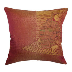"""The Pillow Collection - Harb Traditional Pillow Copper 18"""" x 18"""" - Play with your home decorations and add this traditional throw pillow. This decor pillow features a stunning print pattern in copper, brown, red and yellow hues. This accent pillow brings elegance and artistic appeal to your space. Stylize your living room, kitchen, bedroom and any nooks of your home with this square pillow. Made from 100% polyester fabric. Hidden zipper closure for easy cover removal.  Knife edge finish on all four sides.  Reversible pillow with the same fabric on the back side.  Spot cleaning suggested."""