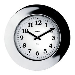"""Alessi - Momento Wall Clock by Alessi - Make the most of your every """"momento"""" with the Alessi Momento Wall Clock. Designed by Aldo Rossi, it is a scale version of the classic Momento Watch. This striking wall clock is made of 18/10 polished stainless steel, with style and size that gives it a real presence in a room. Alessi, known as the Italian design factory, has manufactured household products since 1921. The stylish and fun items offered are the result of contemporary partnerships with some of the world's best designers of unique and modern home accessories."""