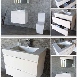 "Bliss 30"" White Modern Wall Mounted Vanity - The Bliss is one of the most elegant modern Bathroom Vanities around.  This 30 Inch model comes with a reinforced Acrylic sink, Marine Veneer Constructed Console that is fully moister and water proof, with high quality European  Bellucci Hardware, that provides smooth soft-closing operation on drawers."