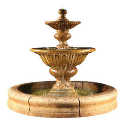 Formal Garden Fountain with Old Euro Basin, Country Oak - The Formal Garden Fountain with Old Euro Basin is just perfect for setting up a fascinating and relaxing ambiance in your garden. The Formal Garden Fountain with Old Euro Basin is another piece of striking work by Al's Garden Art. This gorgeous cast stone fountain has been created by hand in the USA by accomplished artisans, and is sure to attract everyone's attention. Your garden will have a tranquil atmosphere and appeal everyone's curiosity with this lovely fountain.