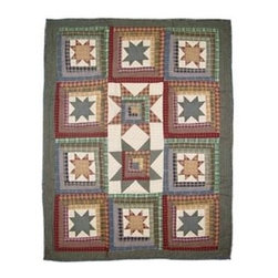 Patch Magic - Cottage Star Crib Quilt - 36 in. W x 46 in. L. Handmade, hand quilted. 100% CottonMachine washable, but for best care hand wash in cold water. Do not machine dry. Do not dry clean. Line or flat dry only.