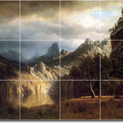 Picture-Tiles, LLC - In Western Mountains Tile Mural By Albert Bierstadt - * MURAL SIZE: 18x24 inch tile mural using (12) 6x6 ceramic tiles-satin finish.