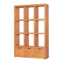 "Open Back Rustic Solid Wood Bookcase- 49.5"" - So many uses for this rustic, Solid wood bookcase. Same on both sides."
