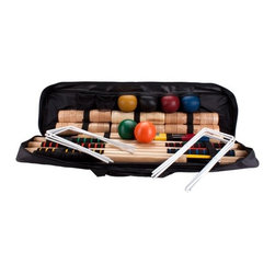 Baden - Champions Combo Croquet Game Set - Features: -Durable nylon waterproof carry bag with pockets.-Hardwood mallets with soft rubber grip handles.-Mallet heads attach to handles with metal.-Vinyl coated heavy gauge wickets.-Solid hardwood end posts.-Tournament game quality.-Ideal for play on most surfaces.-For 2 to 8 players.-Set includes: bag, six mallets, six resin balls, night wickets and two end posts.-Complete croquet rulebook included.-Distressed: No.Dimensions: -End post dimensions: 1.25'' W x 1.25'' D.-Wicket dimensions: 0.25'' W.-Ball dimensions: 3'' W.-Mallet handle dimensions: 32'' L.-Mallet head dimensions: 1.25'' W.