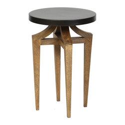 BridgeBlue Sourcing Partners - Geoffrey Accent Table - The Geoffrey Accent Table is a round table with sandblasted legs and a metal top.