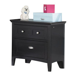 Magnussen - Magnussen Bennett 2-Drawer Nightstand in Black Finish - Magnussen - Kids Night Stands - Y187401