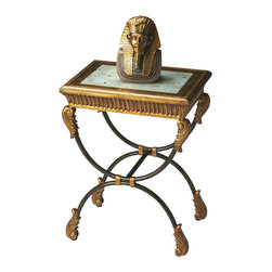Butler Specialty - Butler Side Table - This classically designed side table features a reverse painted glass top in an antique motif. The gold hand painted finish on the wood famed top and apron offer an interesting contrast for a gilded antique effect. The black finished tubular steel base has gold resin applique -s.