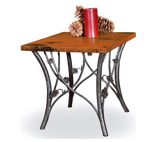 Mathews & Company - Piney Woods End Table Base Only - This rustic Piney Woods End Table Base Only allows you to use your own table top such as granite, custom wood, stone, or glass. Pictured in Black finish.