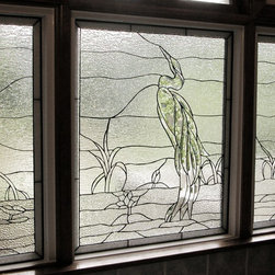 Heron Rhody - less color - Leaded and beveled stained glass privacy windows for master bath
