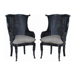 "Guildmaster - Pair of Caned Wingback Chairs by Guildmaster - Echoing the style of a traditional wing back chair is the Caned Wing Back finished in vintage noir. This will truly blend wherever you use it. At the ends of a dining room table or paired and separated by an occasional table. Sold as a pair. Linen cushion included. (GM) 49"" High x 30.5"" Wide x 30"" Deep"