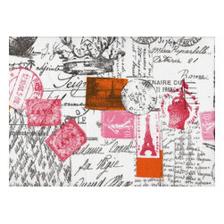 Close to Custom Linens - Queen Bedskirt 18 inch Drop Gathered Amore French Script - Amore is a romantic French script in grey, decorated with postal marks and stamps in oranges and pinks.