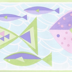 York Wallcoverings - Green Blue Purple Pink Fish Wallpaper Border - Wallpaper borders bring color, character and detail to a room with exciting new look for your walls - easier and quicker then ever.