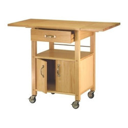 Winsome Wood - Kitchen Cart with Dual Leaf, Cabinet & Shelf - Our Kitchen Cart features two drop-leaf counter tops that provide a long and smooth surface alongwith a cabinet and shelf. This cart is a perfect addition to any kitchen or ideal for storing right next to a dining room, also includes casters for mobility.