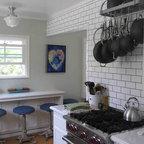 Small Cottage Kitchen Remodel - Rejuvenation Lighting, Wolf Range, subway tile with dark grout