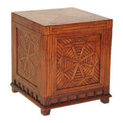 Wayborn - Bamboo Storage Cube - Storage trunk with lift up top. Bamboo on Oakwood. Textured finish with raised wood parts. 18 in. L x 18 in. W x 20 in. H (44 lbs.)