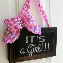 """Nursery - This Chalkboard sign is tied up with a Pink and White Harlequin bow and would make perfect addition to any home! Ready for your personalized greeting.... """"Hello, It's A Girl, Welcome, Shhh baby sleeping..... I even include the chalk!!!! Can be hung anywhere with a wreath hanger or hook."""