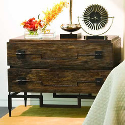 2 Drawer Wide Chest - Shipping included in price! Made of solid mango wood. Texture is hand rubbed by artisans and finished with brown/black stain and coated in satin lacquer. Completely hand forged metal legs and dramatic pulls. Drawers have black lacquer interiors and full extension metal glides.