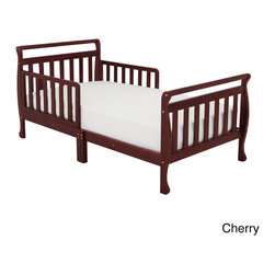 Mikala - Mikala 'Nerida' Wood Toddler Sleigh Bed - Keep your child sleeping safe and sound with the Nerida sleigh-style bed. Available in a variety of non-toxic finishes, this stylish bed features two guard rails as well as a reinforced support slats to protect your little one.