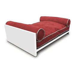 Pet Lounge Studios - White Solid Wood Daybed, Tango Orange - Our  white Solid wood  Daybed is our most transitional and luxurious design. Fit for the little kings and queens of the world! It is a true piece of furniture and will add warmth to the finest home interiors. It is created with rich, solid wood and contains shreded  orthopedic memory foam  along with two bolster pillows so your furry family member can comfortably rest their head over the side. The removable and washable cushion cover uses the highest quality ultra-suede fabric which is inherently stain resistant.