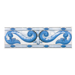 Renovators Supply - Wall Tiles White Ceramic Tile Accent Tile | 13353 - Ceramic Tile. This traditional motif features blue flowers and golden accents on a white background. It has a glossy glazed finish. The slightly raised relief offers some depth to the tile. Ceramic is easy to clean and lasts for generations. Measures 3 in h x 10 in. l.