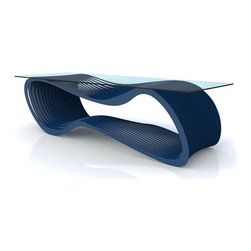 Arktura - Loop Coffee Table - Note: this item is not able to be cancelled or returned once an order is placed. Thin slices of steel, in series, loop into a suggestive arrangement which changes intensity as the viewing angle shifts. Designed by: Chris Kabatsi Features: -Table is a marriage of technology with seamless form.-Sturdy, durable base for glass top.-Suitable for interior or exterior use.-Constructed of powder-coated steel.-Steel slices are permanently connected and powder coated with a Zero-VOC finish.-Collection: Loop.-Distressed: No.-Country of Manufacture: United States.Dimensions: -Overall dimensions: 16'' H x 21'' W x 57''D.