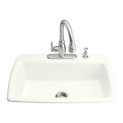 KOHLER - KOHLER K-5863-4-0 Cape Dory Self-Rimming Kitchen Sink - KOHLER K-5863-4-0 Cape Dory Self-Rimming Kitchen Sink with Four-Hole Faucet Drilling in White
