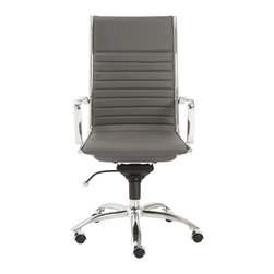Eurostyle - Dirk High Back Office Chair-Gry/Chrm - Leatherette over foam seat and back