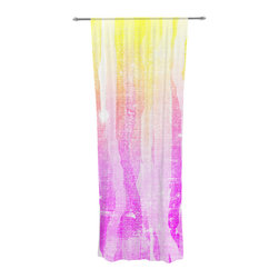 "Kess InHouse - Frederic Levy-Hadida ""Jungle Stripes Pink"" Yellow Painting Decorative Sheer Curt - Let the light in with these sheer artistic curtains. Showcase your style with thousands of pieces of art to choose from. Spruce up your living room, bedroom, dining room, or even use as a room divider. These polyester sheer curtains are 30"" x 84"" and sold individually for mixing & matching of styles. Brighten your indoor decor with these transparent accent curtains."