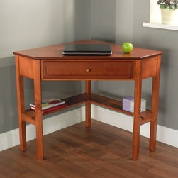 None - Wood Corner Computer Desk - Set up this space-saving corner computer desk in your home office to create a comfortable workspace. It has a single drawer to hold your office supplies and lower shelves for your books or decorations. It comes in a beautiful cherry finish.
