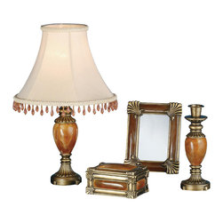 Meyda Tiffany - Boca Raton 4-Pc Vanity Set - Includes lamp, jewelry box, candlestick and mirror. Mirror can be used as picture frame. Goldenrod fabric shade. Edged with amber blush crystal cut beads. Care InstructionsFlute and bead accented antique brass hand finished elements surrounds carnelian stone in this charming four piece vanity set. Edged with amber blush crystal cut beads are the perfect finishing touch to the smartly designed lamp.