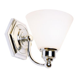 """Lamps Plus - Contemporary Jenna 7 1/8"""" High Chrome Bathroom Light Fixture - Bring a distinct look of refinement to your bath area with this elegant fixture from Norwell. It features a polished chrome finish offset by opal glass and a raised arm which allows mounting above existing cabinets. A hexagonal backplate rounds out the look. This fixture has been carefully crafted by Norwell artisans in their Massachusetts workshop. Polished chrome finish. Opal glass. Takes one 100 watt bulb (not included). 7 1/8"""" high. 6 1/2"""" wide. Extends 7 3/4"""".  Polished chrome finish.  High quality solid brass construction.  Opal glass.  Takes one 100 watt bulb (not included).  7 1/8"""" high.  6 1/2"""" wide.  Extends 7 3/4""""."""