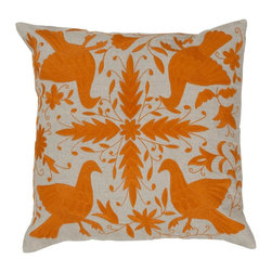 Leah Pillow, Naval Orange - Escape to the tropics with the exotic Leah Pillow; embellished with delicate climbing vines and pretty little birds.