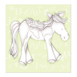 """Doodlefish - Princess Pony Green - Princess Pony is an 18"""" x 18"""" Gallery Wrapped Giclee Print that features a mix of graphical elements and a drawing of a pretty pony with a curly mane and tail.  Choose the background color and the background pattern to match your child's room,  Add your child's name or even your favorite pet.  This artwork is also available mounted in a painted frame of your choice.    The finished size of the mounted piece is approximately 22""""x22""""."""