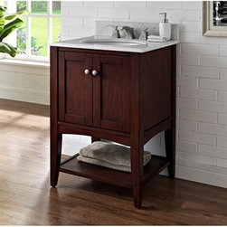 """Fairmont Designs - Fairmont Designs Shaker Americana 24"""" Vanity - Open Shelf - Habana Cherry - Fairmont Designs is described in two words; quality and beauty. Express your creativity with Fairmont Designs bathroom vanities and bath furniture ensembles. The distinctive families of bath furniture from Fairmont Designs come in styles for every bath. Artistry and elegance are delivered in carefully constructed products built with sustainable materials and sturdy craftsmanship. From petite corner solutions to traditional sized pieces, Fairmont Designs is your choice for exquisite and timeless beauty.The Shaker Americana offers clean lines; exceptional durability and fine craftsmanship render this sensible and gracious style as popular today as it was in the 19th century. Featuring a streamlined silhouette, simple brushed nickel hardware and gentle tapered legs in a crisp Polar White or Habana Cherry finish; the Shaker Americana will enhance any bathroom setting Features Poplar Solids with Cherry Veneers 2 Doors Hinges: Fully concealed, Soft closing Open Shelf Hardware: Brushed Nickel Actual cabinet color may vary because each piece is handmade and finished How to handle your counterView Spec Sheet"""