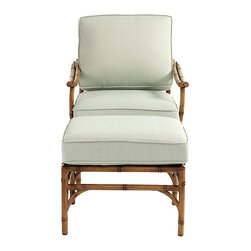 Ballard Designs - Galante Lounge Chair & Ottoman - Coordinates with Galante Dining & Lounge Collections. Spa Green box cushion included. Antique Chestnut finish. Resists rust, chipping & peeling. Replacement cushions available. Requires 1 cushion each per lounge chair & ottoman. Galante captures the inviting look of tropical rattan in virtually ageless, carefree aluminum. Lounge Chair and Ottoman frames are cast of powder-coated aluminum to recreate the natural textures of hand carved rattan and then hand polished and protected with a baked-on, powder-coated finish. Galante Lounge Chair & Ottoman features:. . . . . Fully assembled . Use of an outdoor furniture cover is recommended to extend the life of your piece.