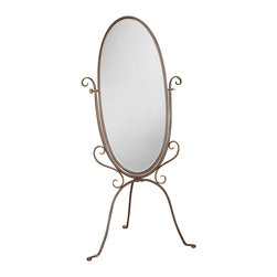 Coaster - Coaster Accent Cheval Dressing Mirror in Pewter - Coaster - Mirrors - 900531 - Reflecting fashion romance and function this Metal Cheval Mirror will certainly become a beautiful addition to your bedroom. The mirror frame includes an elegant scroll style with a pewter finish giving it a feminine classic touch. A tilting mechanism is implemented and supports the mirror allowing it to accommodate different views.Floor mirrorTraditional stylePewter finishTilting mechanism