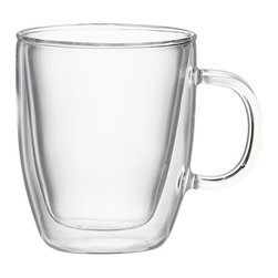 Bodum® Bistro Mug - Hip bistro styling in industrial-strength borosilicate glass. Handmade in a double-walled, insulating design to float your beverage of choice—hot or cold.