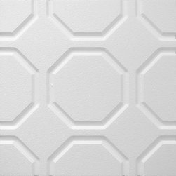 IDS Group - 2x2 White Decorative Ceiling Tiles, Portland Design - Total Coverage: 32 SqFt (Box of 8)